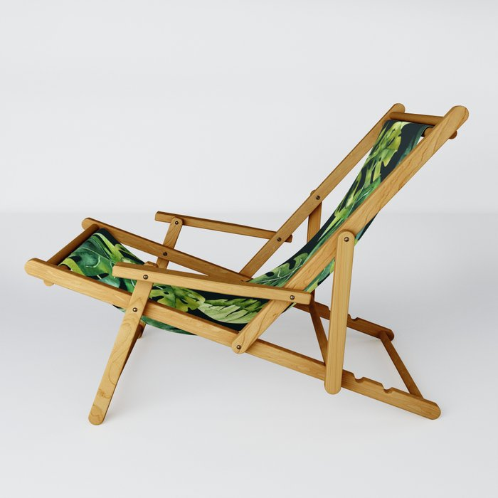 Watercolor Botanical Tropical Palm Leaves on Solid Black Background Sling Chair