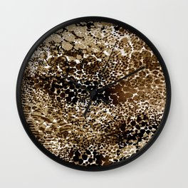 flow of dots in ochre Wall Clock