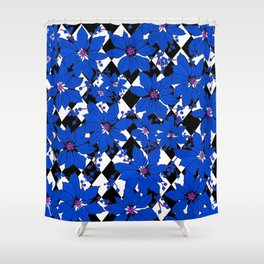HARLEQUIN AND POINSETTIAS BLACK AND WHITE AND BLUE Shower Curtain