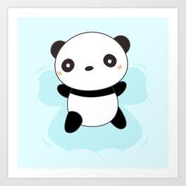 Kawaii Panda Snow Angel Art Print