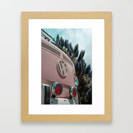 Bus Life in Pink brushstrokes Framed Art Print