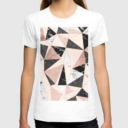 Modern black white marble rose gold glitter foil geometric abstract triangles pattern T-shirt