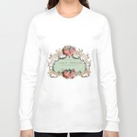 shabby chic Long Sleeve T-shirts featuring Shabby Chic Carte Postale by Nika in Wonderland
