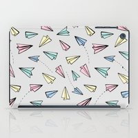 airplanes iPad Cases featuring Paper Planes in Pastel by Tangerine-Tane