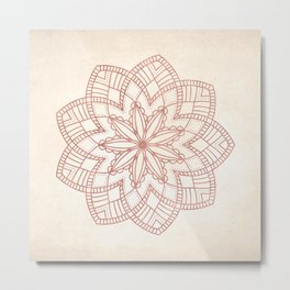 Flowery Rose Gold Mandala on Cream IV Metal Print