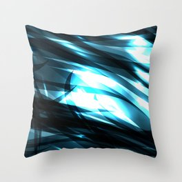 glowing cosmic azure background of cobalt metal lines. For registration of paper or banners. Throw Pillow