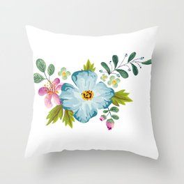 Bouquet Viola - Violet, Green AND Blue Flower Pimpernel Throw Pillow