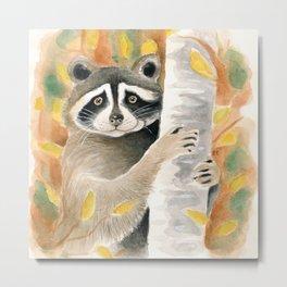 Cute Raccoon In the Woods Watercolor Art Metal Print