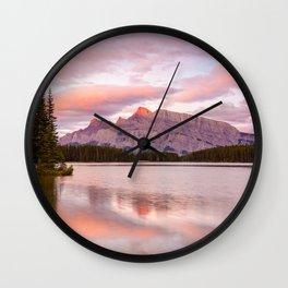 Mt. Rundle Sunrise Banff National Park Canada Mountains Reflection Landscape Wall Clock