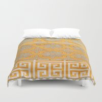 orange pattern Duvet Covers featuring OrangE paTTern by ''CVogiatzi.