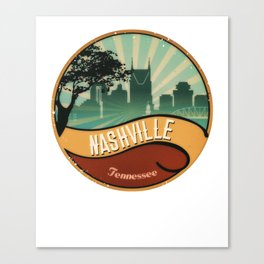 Nashville City Skyline Tennessee Retro Vintage Design Canvas Print