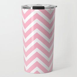 Chevron Stripes : Pink & White Travel Mug