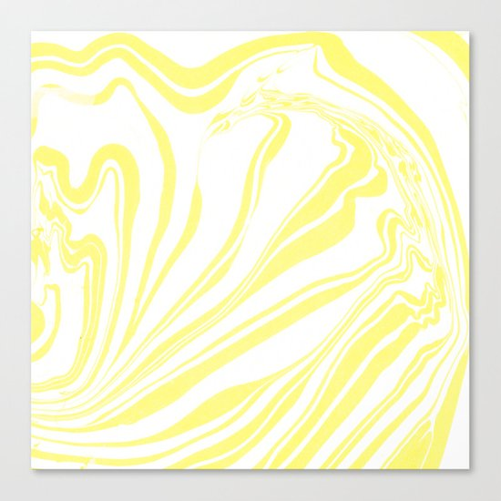 Yellow Marble Ink Watercolor Canvas Print