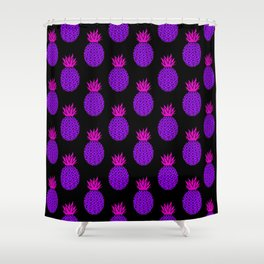 Purple Disco Pineapples Shower Curtain