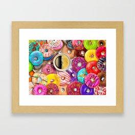 Donuts & Coffee Framed Art Print