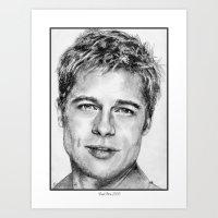 brad pitt Art Prints featuring Brad Pitt in 2006 by JMcCombie