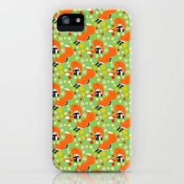 A pair of foxes on field. One stretches, the other licks his paw.  iPhone Case