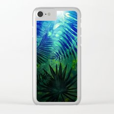 Blue Aloha- Morning Light abstract Tropical Palm Leaves and Monstera Leaf Garden Clear iPhone Case