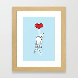 Man Hanged by a Heart Balloon Framed Art Print