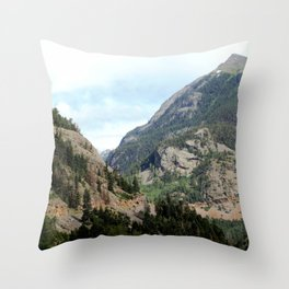 Driving the Spectacular, but Perilous Uncompahgre Gorge, No. 2 of 6 Throw Pillow