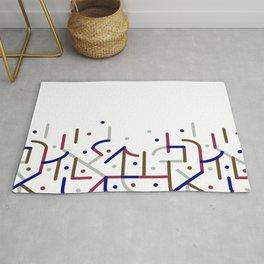 Lines and Dots Motif Geometric Print Rug
