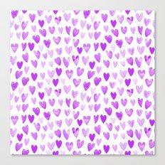 Watercolor Hearts purple pantone love pattern design minimal modern valentines day Canvas Print