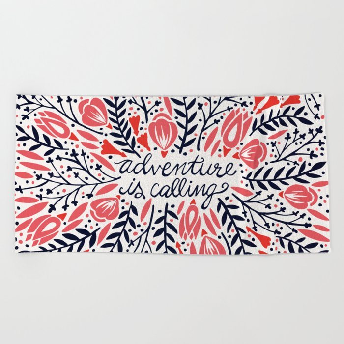 Adventure is Calling – Red & Black Palette Beach Towel