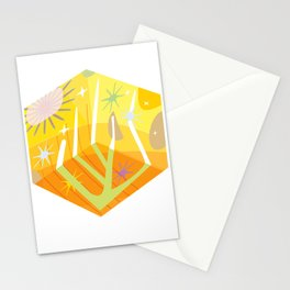 Square Sun Burst Stationery Cards