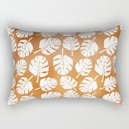 MONSTERA LEAVES - WHITE ON COPPER Rectangular Pillow