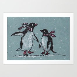 Snowy Day Penguins Art Print