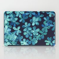 stickers iPad Cases featuring Hand Painted Floral Pattern in Teal & Navy Blue by micklyn