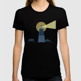 Lighthouse at Night Beach Decor Illustrated Print T-shirt