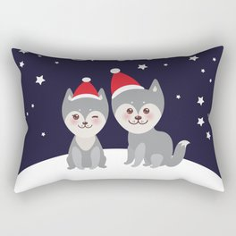 Merry Christmas New Year's card design funny gray husky dog in red hat, Kawaii face with large eyes Rectangular Pillow