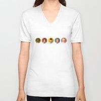 spice girls V-neck T-shirts featuring SPICE GIRLS ICONS by Chilli Cactus