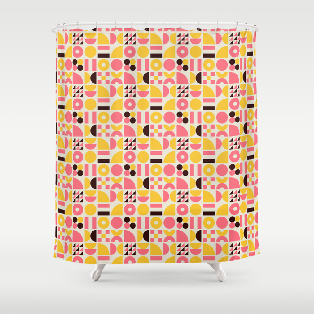 pink and yellow shower curtain.  Pink And Yellow Shower Curtain by Blue Mcm Curtains Society6 100 Best 25 Custom