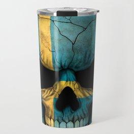Dark Skull with Flag of Sweden Travel Mug