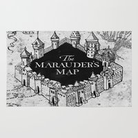 gandalf Area & Throw Rugs featuring Marauders Map by bimorecreative