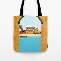 arab Tote Bags featuring Arab city by Design4u Studio
