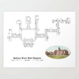 Hudson River State Hospital Blueprint Print Art Print