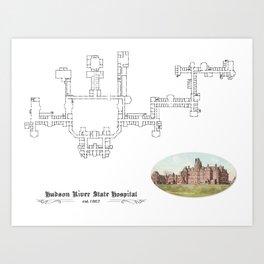 Hudson River State Hospital Blueprint Print Art Print
