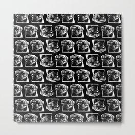 PUG SUKI - FLORAL GLASSES PATTERN - BLACK AND WHITE Metal Print