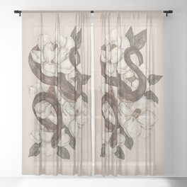 Snake and Magnolias Sheer Curtain