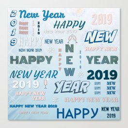 Happy New Year 2019 Canvas Print