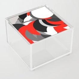 black white grey red geometric digital art Acrylic Box