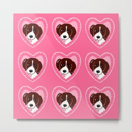 Beagle Love Pattern Art Metal Print