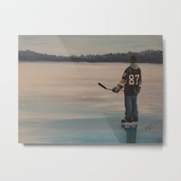 On Frozen Pond - The Kid - Hockey Metal Print