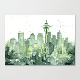 Seattle Watercolor Painting Canvas Print