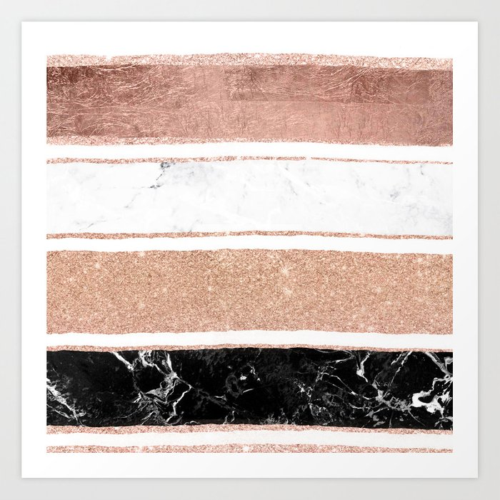 Faux Rose Gold Glitter Modern Marble Stripes Pattern Art