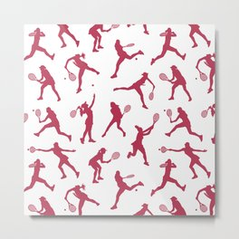 Magenta Tennis Players Metal Print