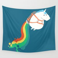 humor Wall Tapestries featuring Fat Unicorn on Rainbow Jetpack by Picomodi